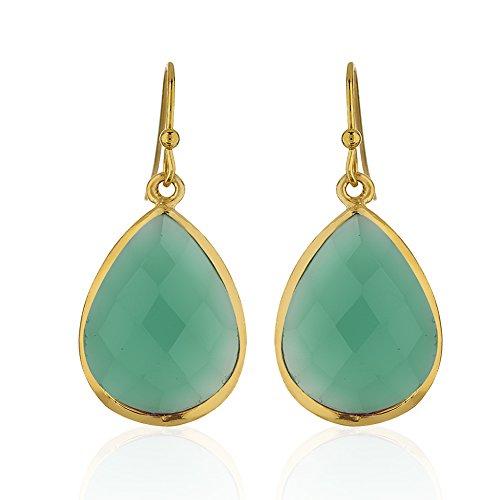 Green Onyx Earrings (18K Gold-Plated Rims Pear Shape Green Onyx Gemstone Dangle Earrings)