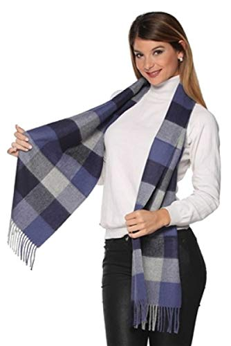 Peruvian Link Pure Baby Alpaca Scarf - Made with 100% Peruvian Baby Alpaca - Perfect Gift (Blue Plaid) ()