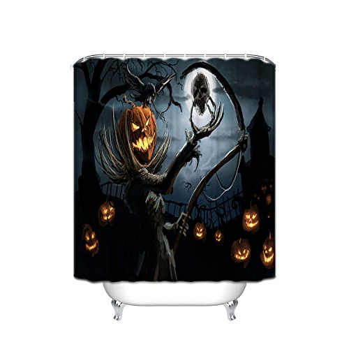 Custom Halloween Pumpkin Waterproof Polyester Fabric Shower Curtain, Night Time, With Pumpkin Evil Smiley Mask Time Ghost Hand Holding A Taro Horror Picture, 48