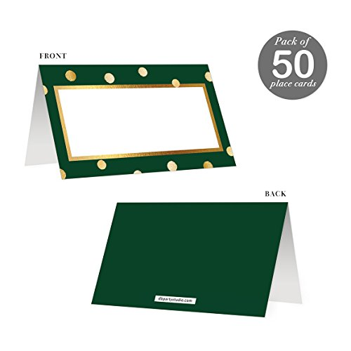 "Green Place Cards 50 pack Table Assign Seat Scored Easy Fold Tented Blank Premium Placecards All Occasion Gold Polka Dot Reserved Seating Birthday Celebration Corporate Banquet Holiday Event 3.5"" x 2"""