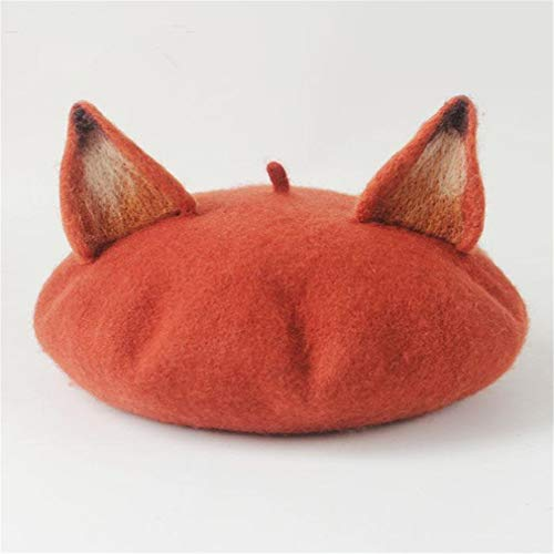 - Autumn And Winter New Pattern Manual Wool Blanketry Literature Lovely Fox Ears Beret Originality Manual Painter Hat Fox color One Size