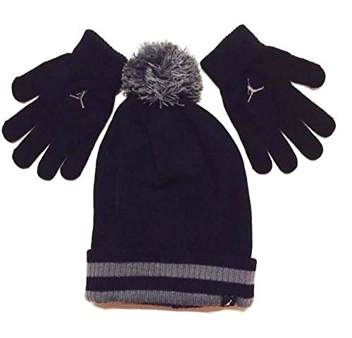Nike Jordan Boys Winter Cuffed Beanie & Gloves Set Size : 8/20-Black
