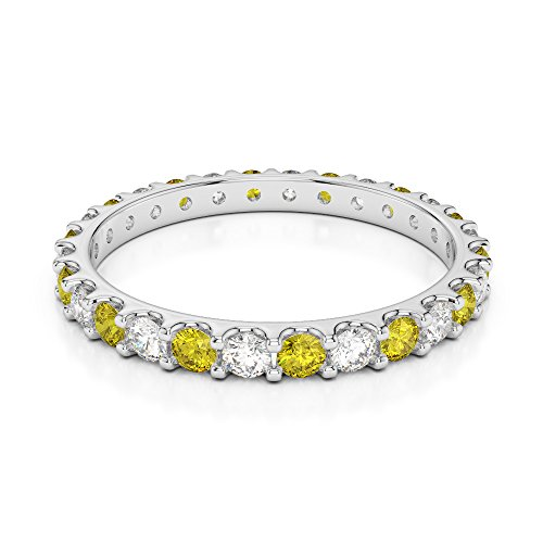 G-H/VS 0,42 CT Coupe ronde sertie de diamants Saphir Jaune et Full Eternity Bague en platine 950 Agdr-1104