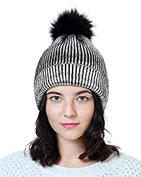 Silver-A Sequin Beanie Hat with Faux Fur