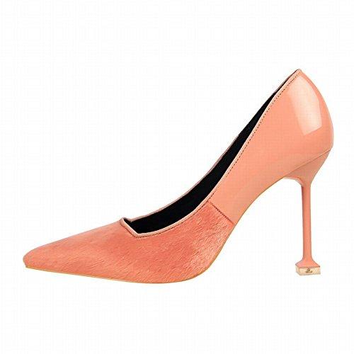 Zapatos De La Bomba De Tacón Alto De La Moda Del Pie Acentuado De Las Mujeres Del Pie Desnudo Rosado