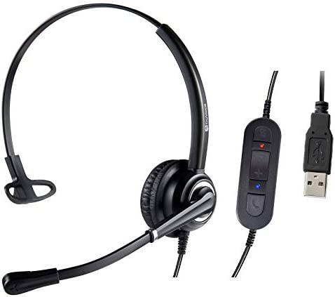VoicePro 10 Single Ear Professional USB Call Center/Office HeadsetNoise Canceling Microphone and in-Line Call Controls - WorksSkype Microsoft Teams Zoom Cisco Jabber Avaya X and More