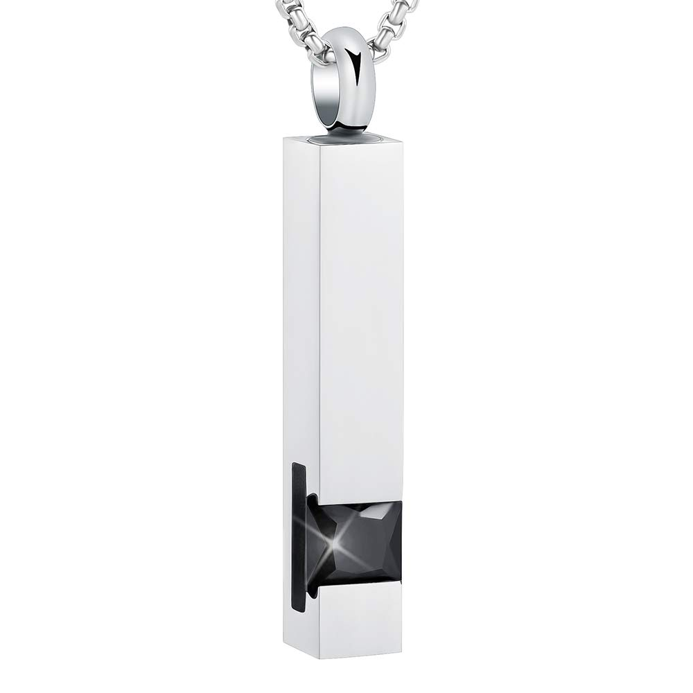 Free Fill Kits EternityMemory Black Rectangle Bar with Multi-Colored Zircon Cremation Necklaces Pendant for Ashes