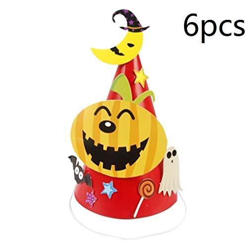 6pcs Halloween Party Hat Mini Cone Cap Paper Hats Headdress Halloween Head Accessories for Children Kids - Pumpkin]()