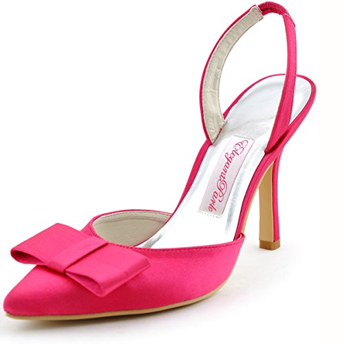 omen's Pointy Toe Stiletto Heel Slingbacks Bow Satin Evening Party Prom Pumps Hot Pink US 7 ()