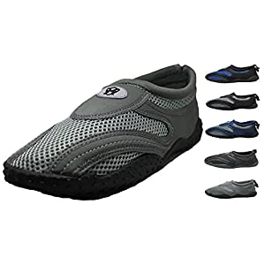 Men's Water Shoes Aqua Slippers Yoga Exercise Socks With Drawstring Closure Sizes 7 - 14 (12, Dark Gray / Gray)