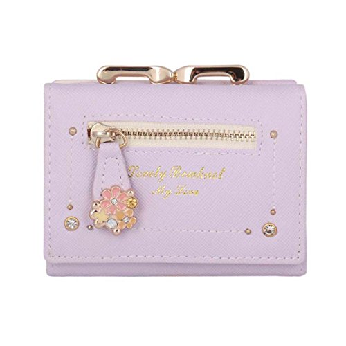 Damara Womens Special Candy Color Mini Wallet,Purple