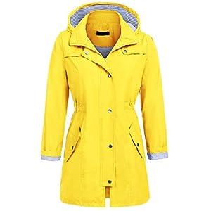Zeagoo Waterproof Lightweight Rain Jacket Active Outdoor Hooded Raincoat For Women (Yellow, S)