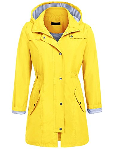 Unibelle Womens Rainwear Active Outdoor Hooded Cycling Packable and Lightweight Jacket (Yellow, L)