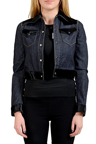 Dsquared2 Leather Jeans - Dsquared2 Calf Leather Blue Button Down Women's Jean Jacket US XS IT 40