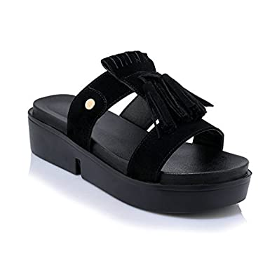 Sandalen für Frauen Offenen Zeh Dick Unten Flip Flop Reine Farbe Größe Strand Schuhe, Schwarz, 34