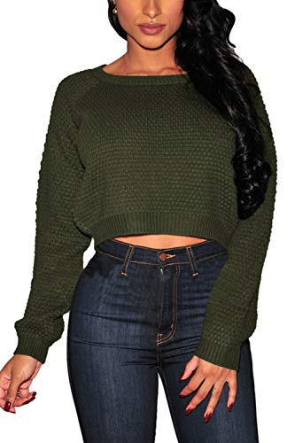Pink Queen Women's Sweater,Long Sleeve Knit Pullover Crop Top Army Green Size S ()