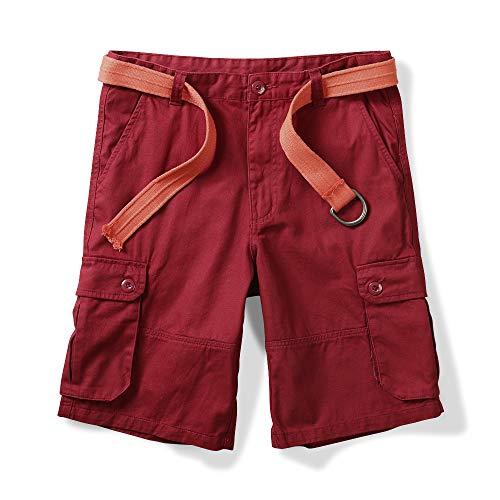 OCHENTA Men's Classic Loose Fit Twill Cargo Shorts Boxdeaux 30