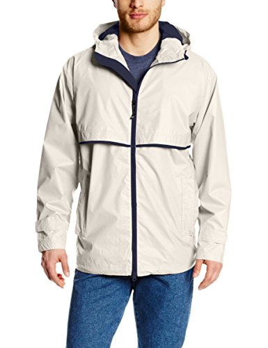Charles River Apparel Men's New Englander Waterproof Rain Jacket, Taupe/Navy, XXXXX-Large