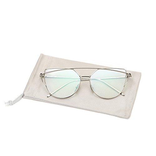 81b231ad0e Pro Acme New Fashion Premium Cat Eye Clear Lens Glasses Frame  Non-Prescription(Silver
