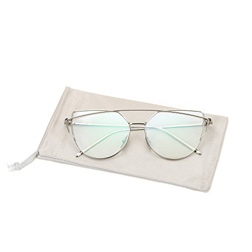 Pro Acme New Fashion Premium Cat Eye Clear Lens Glasses Frame Non-Prescription(Silver,Clear)