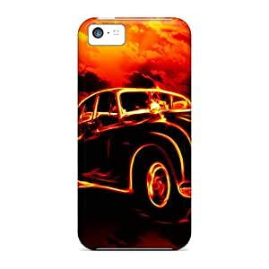 High Impact Dirt/shock Proof Case Cover For Iphone 5c (3d Car In Fire)