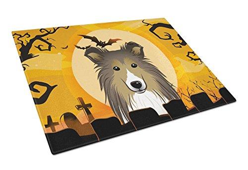 Caroline's Treasures BB1800LCB Halloween Sheltie Glass Cutting Board, Large, Multicolor]()