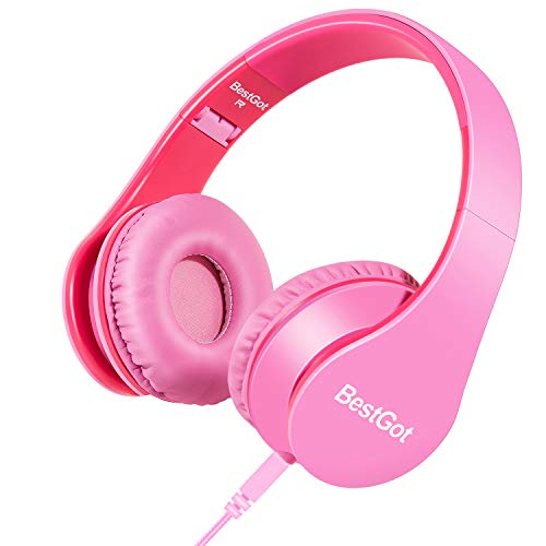 BestGot Girls Headphones for Kids Girls Adult with Microphone Volume Control Foldable Headset with 3.5mm Plug Removable…