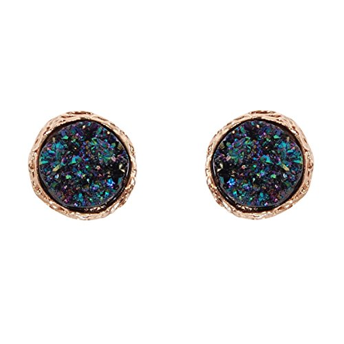 - Humble Chic Simulated Druzy Studs - Round Circle Shaped Sparkly Bezel Set Post Ear Stud Earrings, Iridescent Circle, Dark Blue, Metallic, Gold-Tone