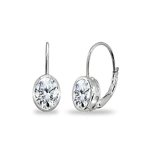 Sterling Silver Cubic Zirconia 7x5mm Oval Bezel-Set Dainty Leverback Earrings for Women Teen Girls