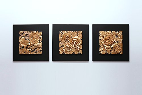 RELIFE 3d Wall Painting Handmade Art Work Noble Flower Resin Carved Painting for Living Room 60x60cm,3pc golden Modern Art Ready to Hang … (golden)