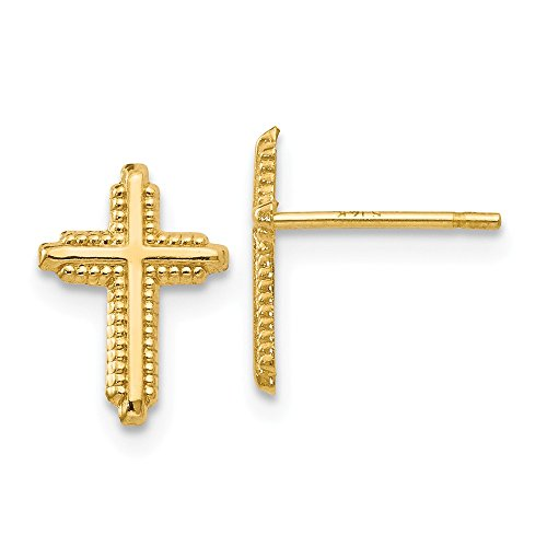 - Jewels By Lux 14K Yellow Gold Polished Cross Post Earrings