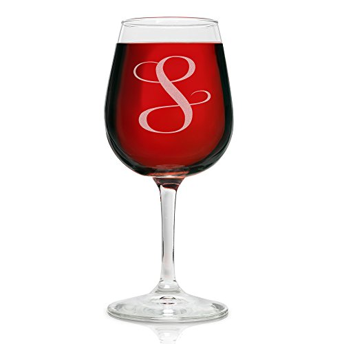 On The Rox Drinks Engraved Wine Glass, 12.75 S-Monogram (Decorated Wine Glass Set)