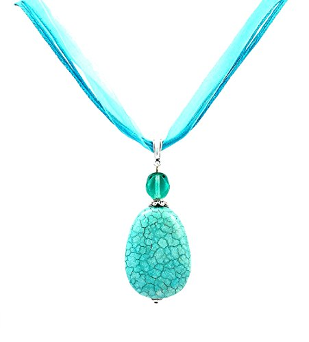 (A-Ha - Magnesite Turquoise Pendant Necklace - Comes with 2 Cord Styles)