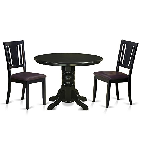 East West Furniture SHDU3-BLK-LC 3 Piece Table and 2 Kitchen Chairs Set