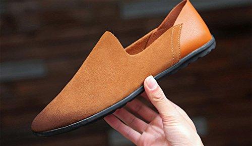 Chaussures Taille SK Chaussures Marron de Hommes Noir Plat Loafers Bateau Studio Conduite Grande Mocassins Cuir r1p1TyXqv