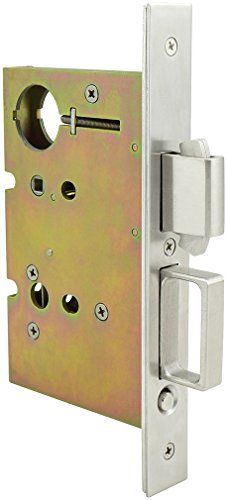 - INOX PD84-234-14 Mortise Pocket Door Lock Entry with Deadbolt and Edge Pull, Polished Nickel
