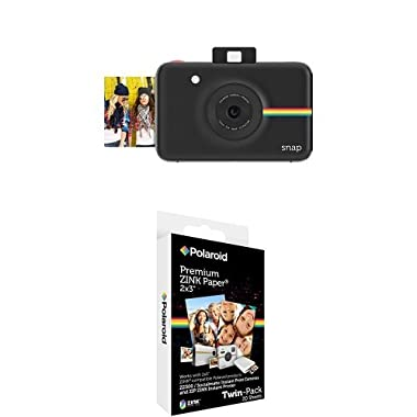 Polaroid Snap Instant Digital Camera (Black) with Polaroid 2x3 inch Premium ZINK Photo Paper TWIN PACK (20 Sheets)