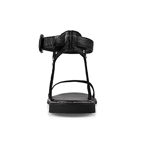 COOLCEPT Damen Mode-Event Knochelriemchen Sandalen Open Toe Flach Slingback Schuhe Schwarz