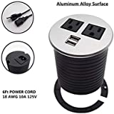 Aluminum Alloy Surface Power Tap Grommet 2 X AC Outlet and 2 X USB Port with 6 FT Standard Power Cord (18 AWG 10A 125V) Silver