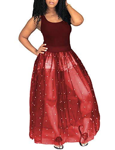 Young Lady Dress - Scoop Neck Sleeveless Tank Dress Sheer Mesh Beading A Line Long Dress for Young Ladies Red S