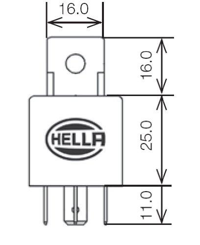 HELLA 965400031 Black 24V 30 Amp Mini ISO SPST Relay with Bracket