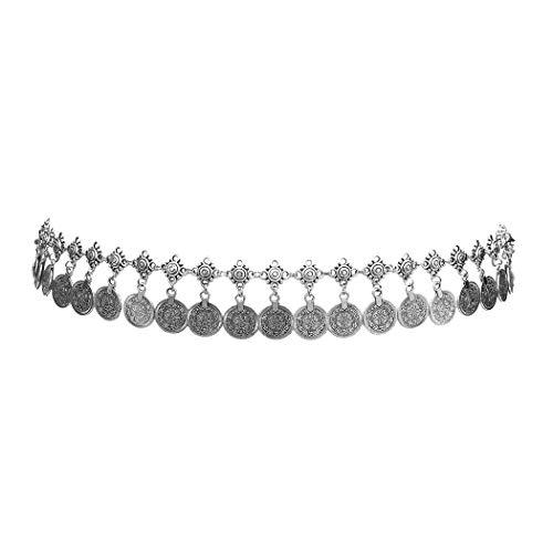Idealway Gypsy Silver Dangle Coins Belly Chain Hippie Boho Belt Belly Dance Chain Body Jewelry - Belly Gypsy Hippie Dance
