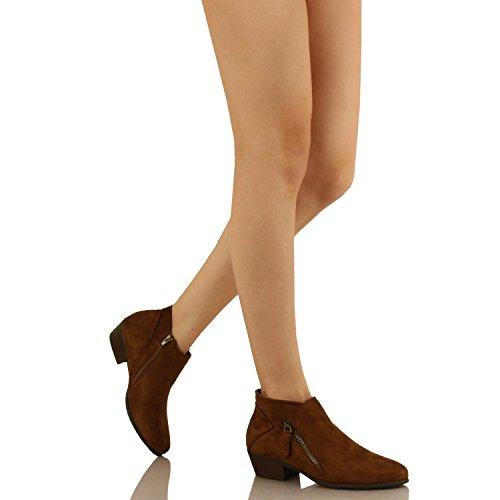 Guilty Schuhe Damen Cowboy geschlossene Zehe Faux Wildleder Bootie - Bequeme Seite Reißverschluss Low Heel Ankle Boot 04-tan-Wildleder