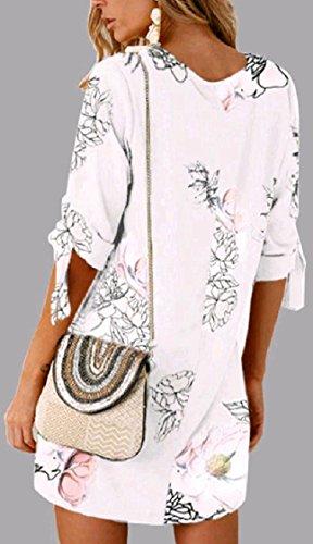 Lace Linea Pattern10 Up donne Floreali Lunga Una Manica Elegante Coolred Da 2 size Vestito 1 Partito Girocollo Plus wTxqzUTB7