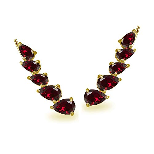 - Gold Flash Sterling Silver Created Ruby Teardrop Curved Climber Crawler Earrings