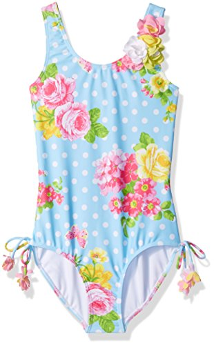Kate Mack Little Girls' Garden Roses 1pc Swimsuit, Blue, 6X (Bow Kate Mack)