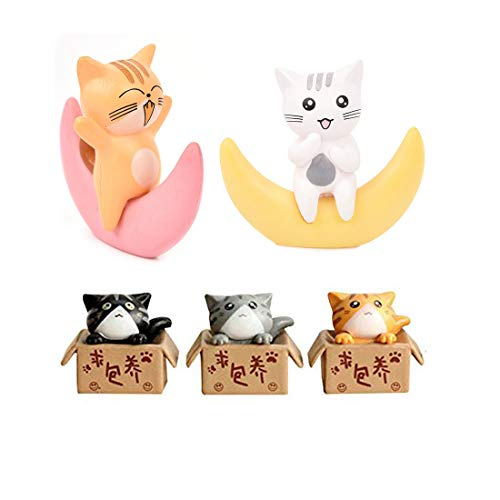 Neko 5pcs Miniature Cats in Boxes & Crescent Moon Figurines - Micro Garden Landscape Ornament Decorations - Cute Lucky Cat DIY Figures for Crafts and Home Decor