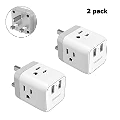 TESSAN US to UK travel plug adapter has a Type G plug with 3 standard USA AC power outlets and 2 USB ports built together, It turns one British/Irish socket (Type G) into three standard 3-prong or 2-prong American outlets PLUS two USB chargin...