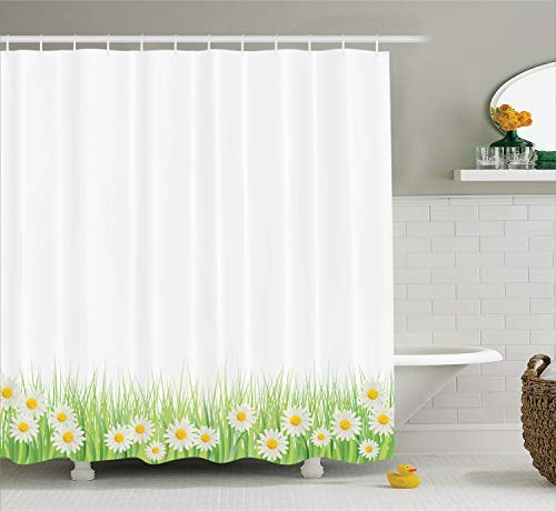 - Ambesonne Flower Shower Curtain, Daisies in The Grass on Plain Background Modern Floral Print Country Style, Cloth Fabric Bathroom Decor Set with Hooks, 70