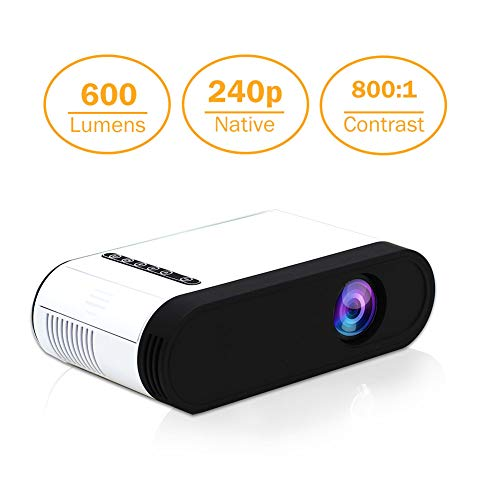Projector Mini LED Video Projector Home Theater Supporting 1080P Compatible with HDMI/USB/TF Card/VGA/AV and Smartphone (E200-Basic)